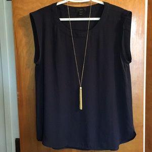 J Crew navy sleeveless shirt - size 10